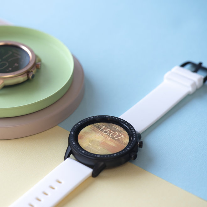 OOZOO Smartwatches - unisex - rubber watch strap white with black case