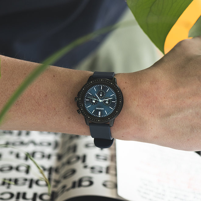 OOZOO Smartwatches - unisex - rubber watch strap dark blue with black case