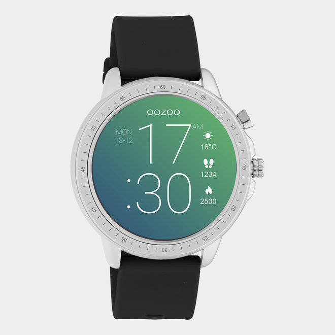 OOZOO Smartwatches - unisex - rubber horlogeband zwart / zilver