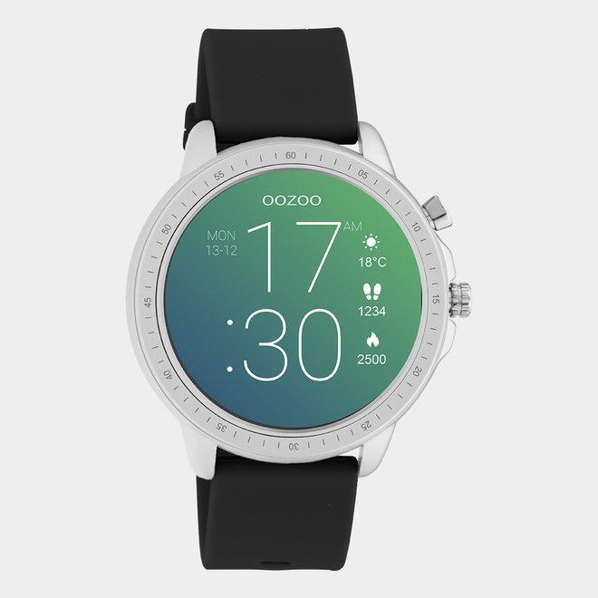 OOZOO Smartwatches - unisexe - bracelet en caoutchouc noir / argent