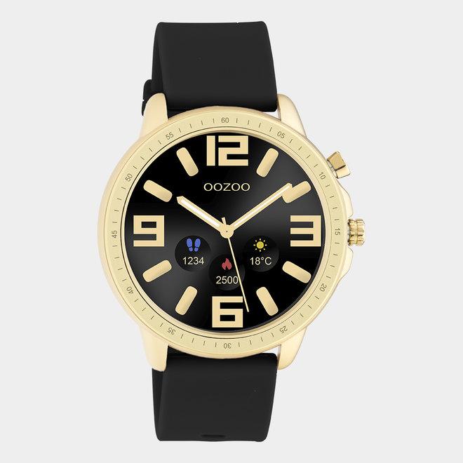 OOZOO Smartwatches - unisexe - bracelet en caoutchouc noir avec boîtier or