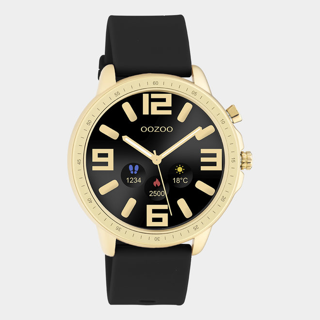 OOZOO Smartwatches - unisex - rubber horlogeband zwart / goud