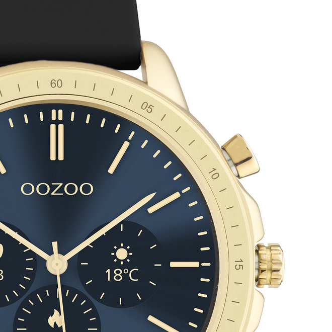 OOZOO Smartwatches - unisex - rubber strap black with gold case