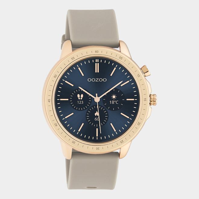 OOZOO Smartwatches - unisexe - bracelet en caoutchouc taupe / or rose