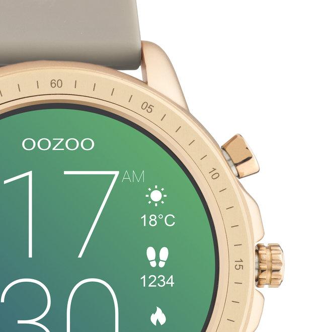 OOZOO Smartwatches - unisexe - bracelet en caoutchouc taupe avec boîtier or rose