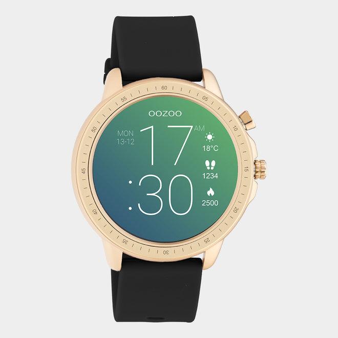 OOZOO Smartwatches - unisexe - bracelet en caoutchouc noir / or rose
