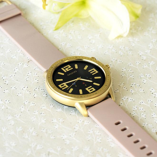 OOZOO Smartwatches - unisex - rubber horlogeband zacht roze met goud gekleurde kast