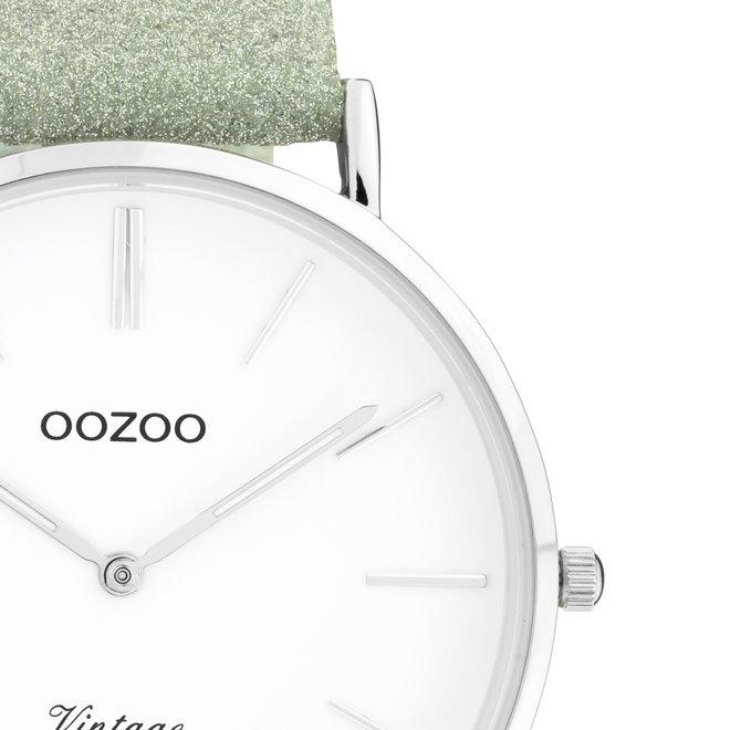 OOZOO Vintage - ladies - leren viridiaan groen met zilveren horlogekast