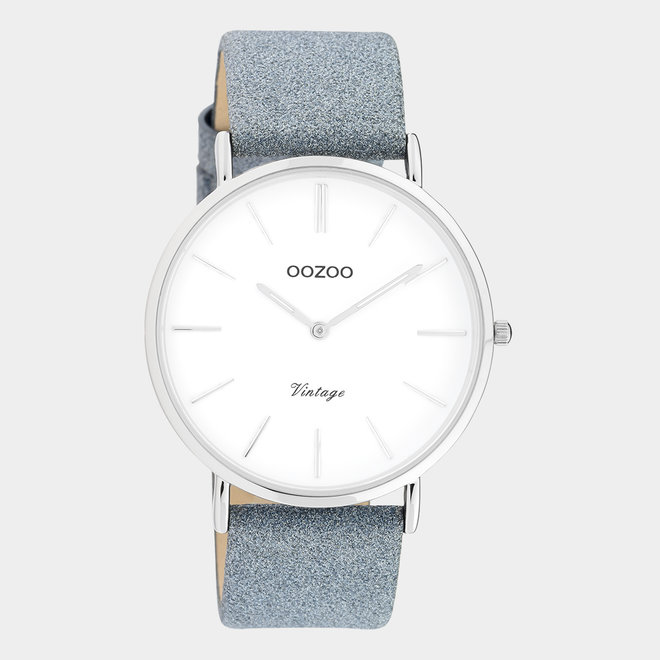 OOZOO Vintage - ladies - leren blauw met zilveren horlogekast