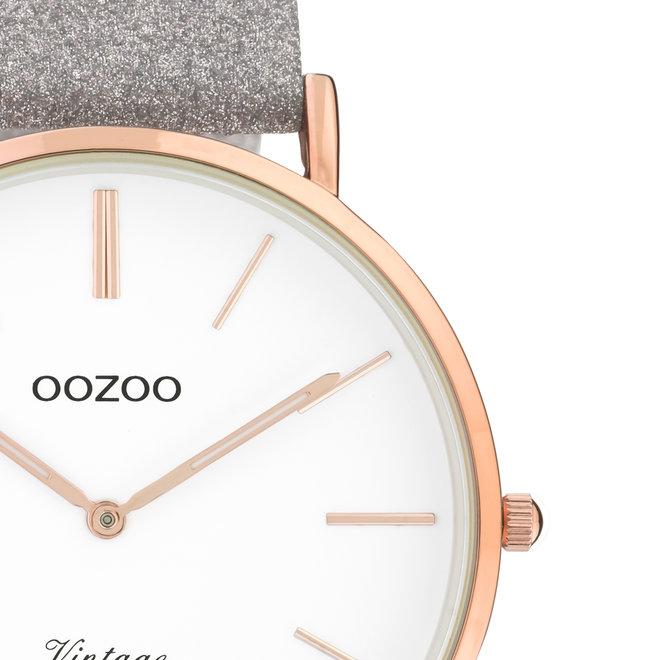 OOZOO Vintage - ladies - leren taupe met rosé gouden horlogekast