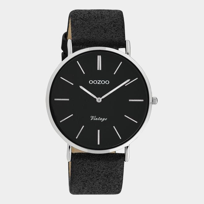 OOZOO Vintage - ladies - leren zwart met zilveren horlogekast