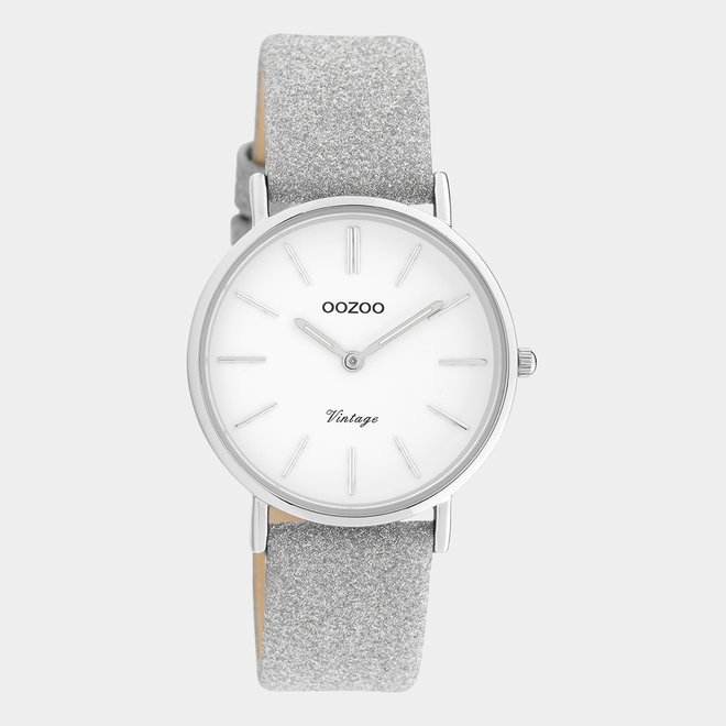 OOZOO Vintage - ladies - leren zilver met zilveren horlogekast