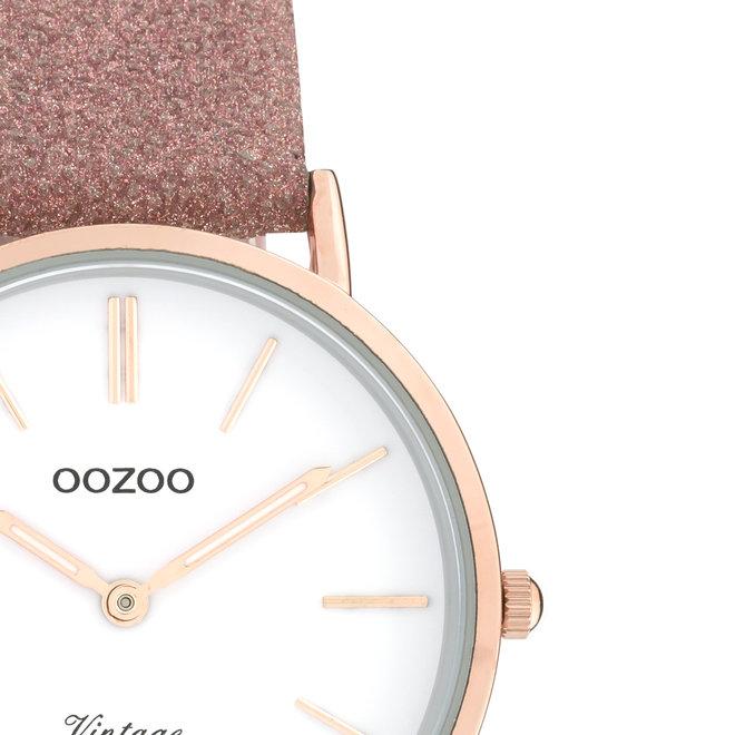OOZOO Vintage - ladies - leren oud roze met rosé gouden horlogekast