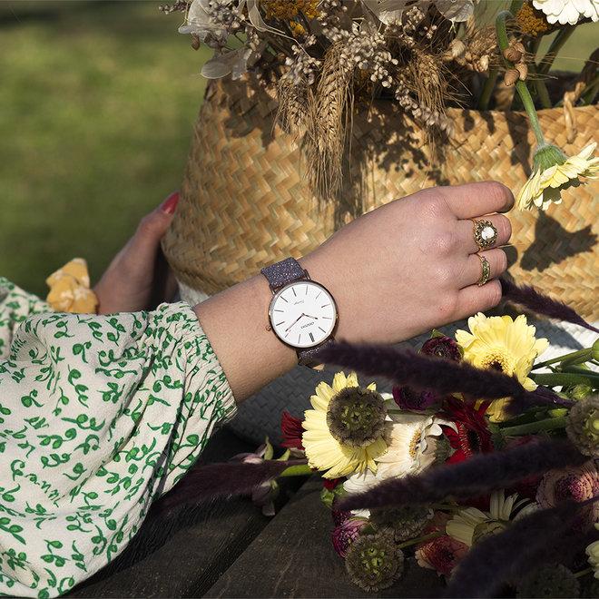 OOZOO Vintage - ladies - leren violet met rosé gouden horlogekast