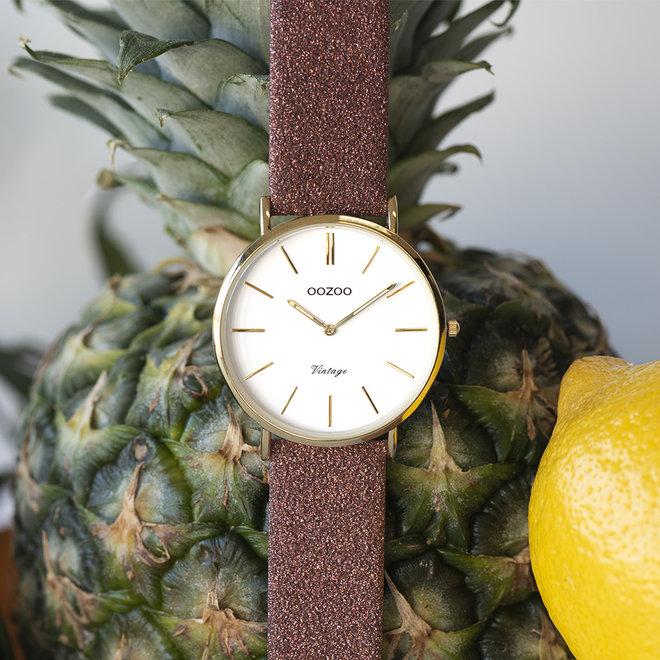 OOZOO Vintage - ladies - leren warm roze met gouden horlogekast
