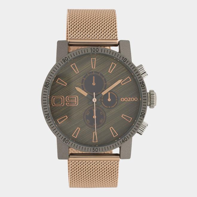 OOZOO Timepieces - unisex - metal mesh rose gold / dark grey