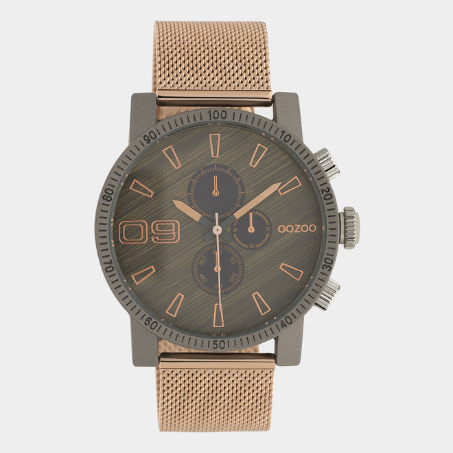 OOZOO Timepieces - unisexe - en mesh or rose / gris foncé
