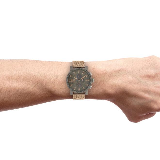 OOZOO Timepieces - unisex - metalen mesh rosé goud met donker grijze horlogekast