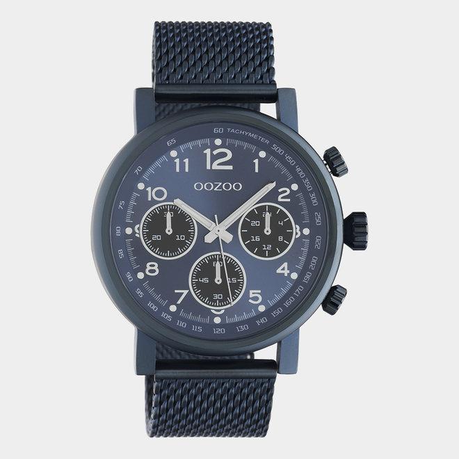 OOZOO Timepieces - unisex - metalen mesh blauw met blauwe horlogekast