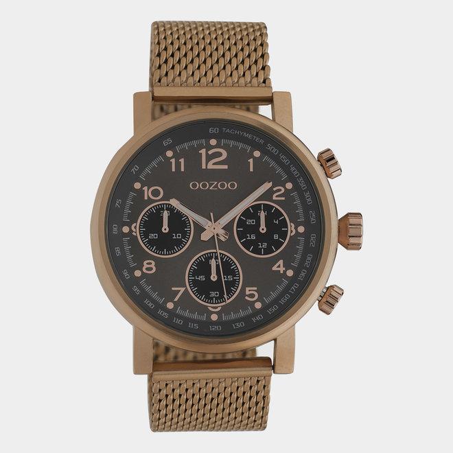 OOZOO Timepieces - unisex - metalen mesh bruin