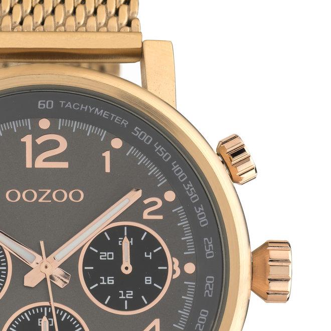 OOZOO Timepieces - unisex - metalen mesh rosé goud met rosé gouden horlogekast