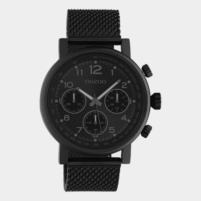 OOZOO Timepieces - unisex - metalen mesh zwart