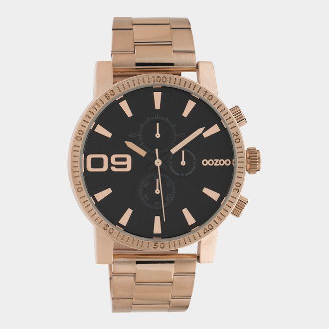 OOZOO Timepieces - unisex - metalen rosé goud met rosé gouden horlogekast