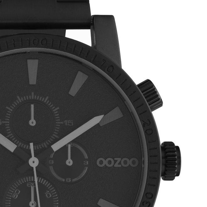 OOZOO Timepieces - unisex - metalen zwart met zwarte horlogekast