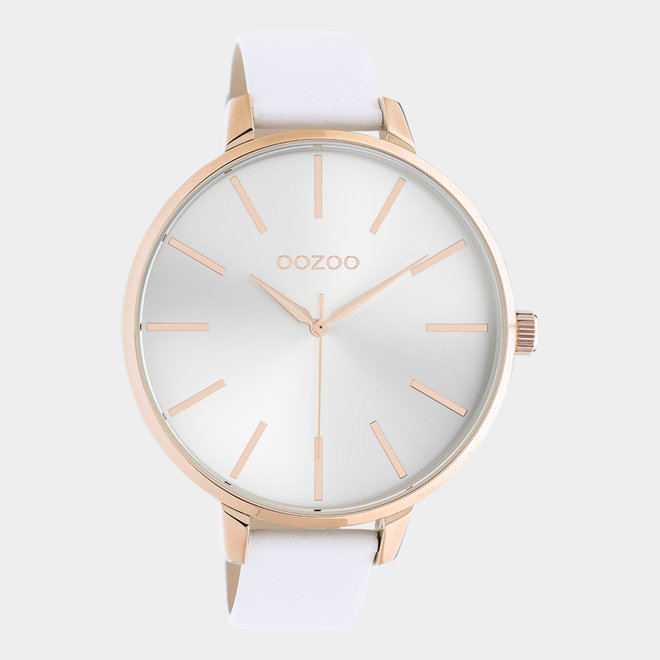 OOZOO Timepieces - dames - leren wit met rosé gouden horlogekast