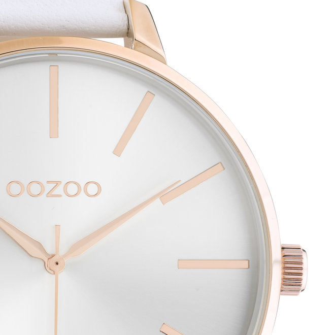 OOZOO Timepieces - ladies - leather white with rose gold