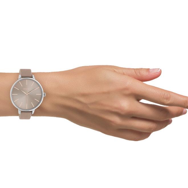 OOZOO Timepieces - dames - leren oud roze met zilveren horlogekast