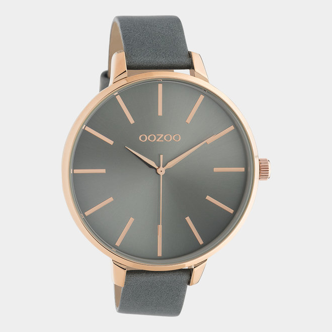 OOZOO Timepieces - ladies - leather aquagrey with rose gold