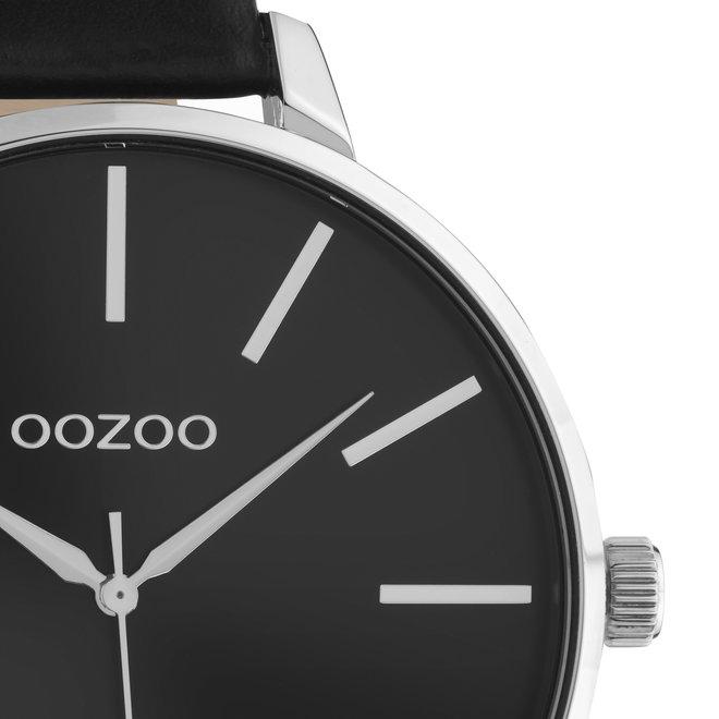 OOZOO Timepieces - dames - leren zwart met zwarte horlogekast