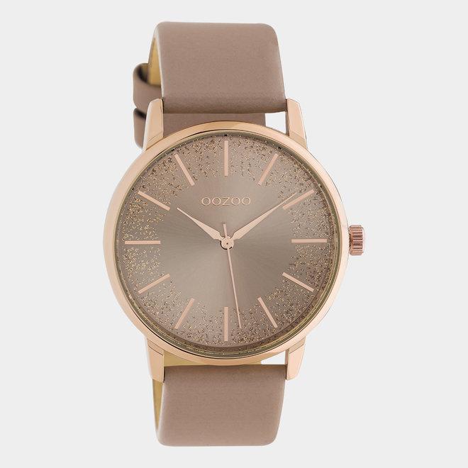 OOZOO Timepieces - femmes - en cuir rose tendre / or rose