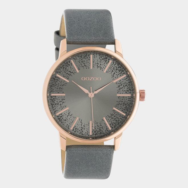 OOZOO Timepieces - femmes - en cuir gris aqua / or rose