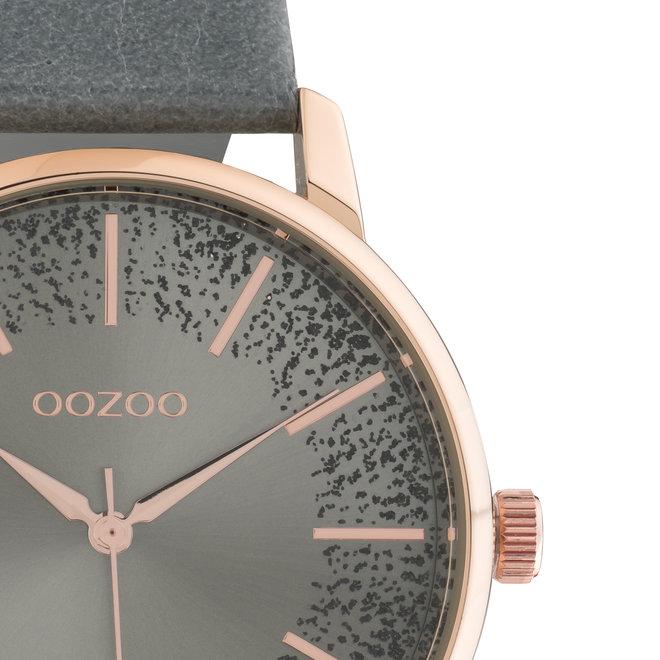 OOZOO Timepieces - dames - leren aqua grijs met rosé gouden horlogekast