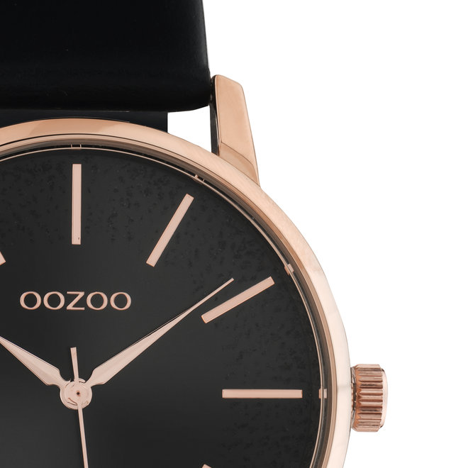 OOZOO Timepieces - dames - leren zwart met rosé gouden horlogekast