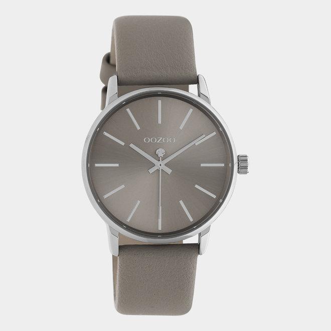 OOZOO Timepieces - dames - leren taupe met zilveren horlogekast