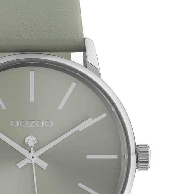 OOZOO Timepieces - dames - leren grijs met zilveren horlogekast