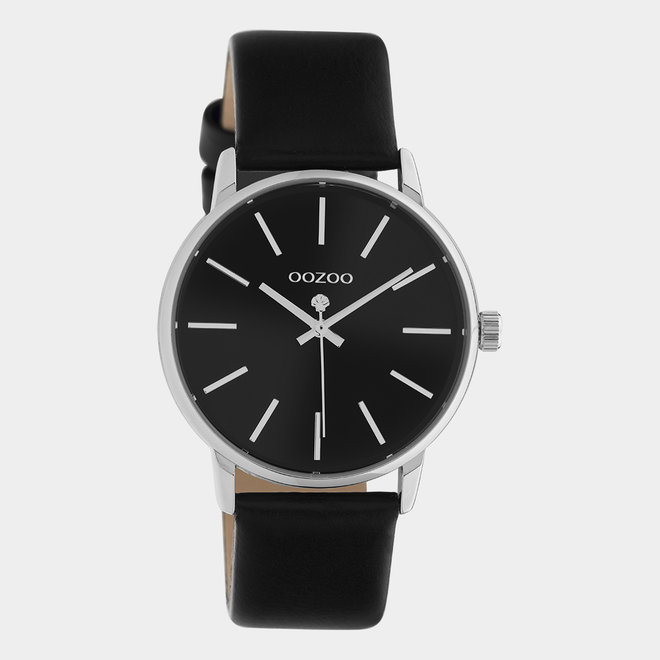 OOZOO Timepieces - ladies - leather black with silver