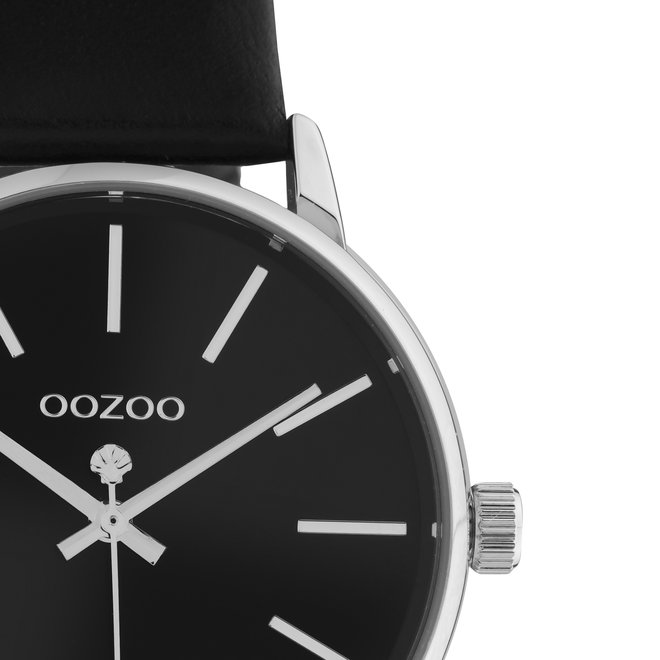 OOZOO Timepieces - dames - leren zwart met zilveren horlogekast