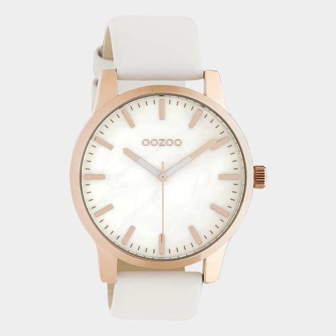OOZOO Timepieces - unisex - leather white / rose gold