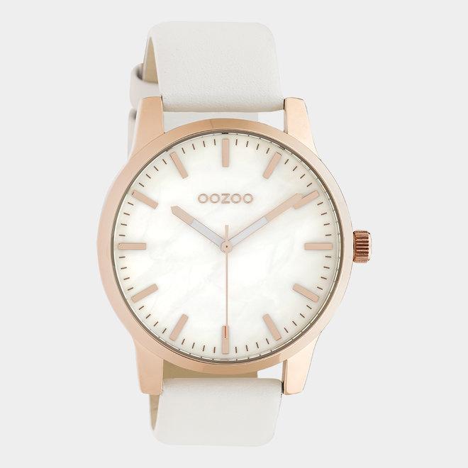 OOZOO Timepieces - unisexe - en cuir blanc / or rose