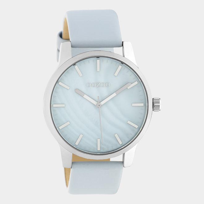 OOZOO Timepieces - unisexe - en cuir bleu clair / argent