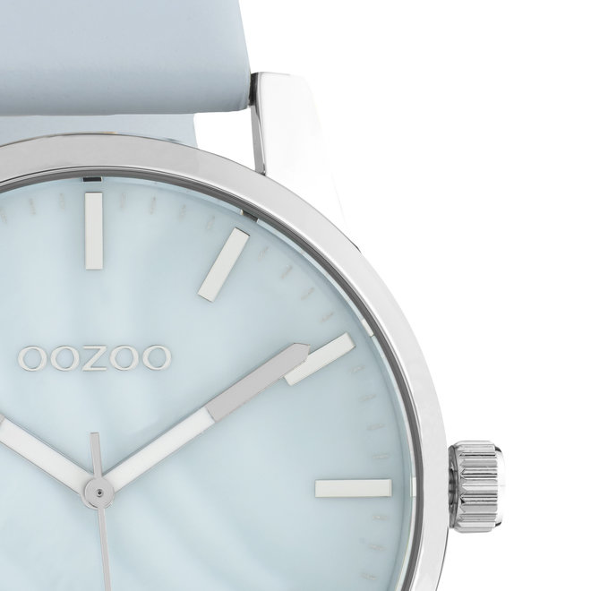 OOZOO Timepieces - unisex - leather light blue with silver