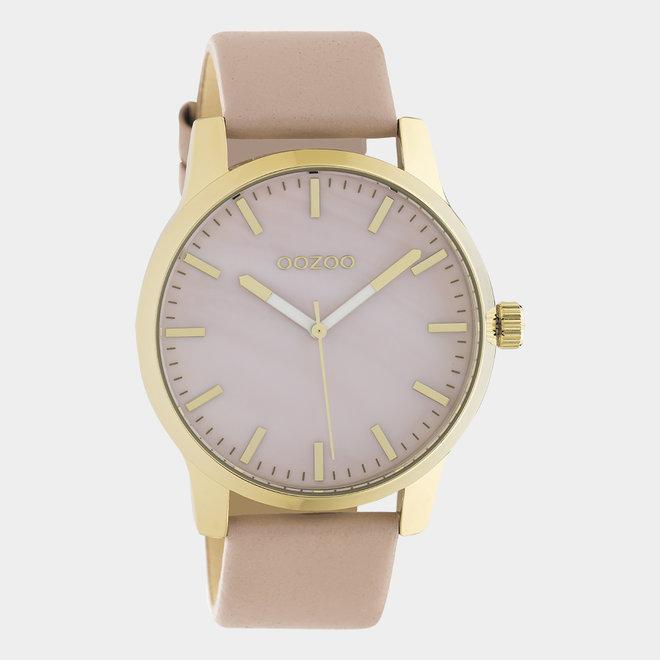 OOZOO Timepieces - unisexe - en cuir rose tendre / or