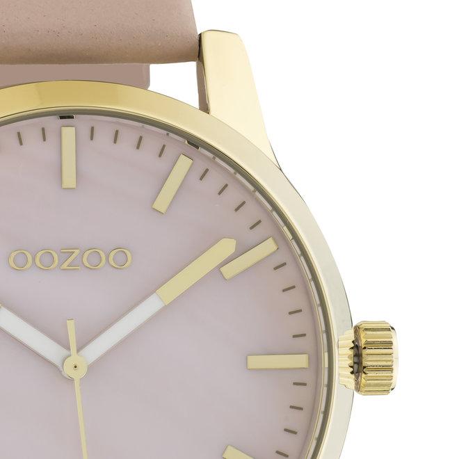 OOZOO Timepieces - unisex - leren oud roze met gouden horlogekast