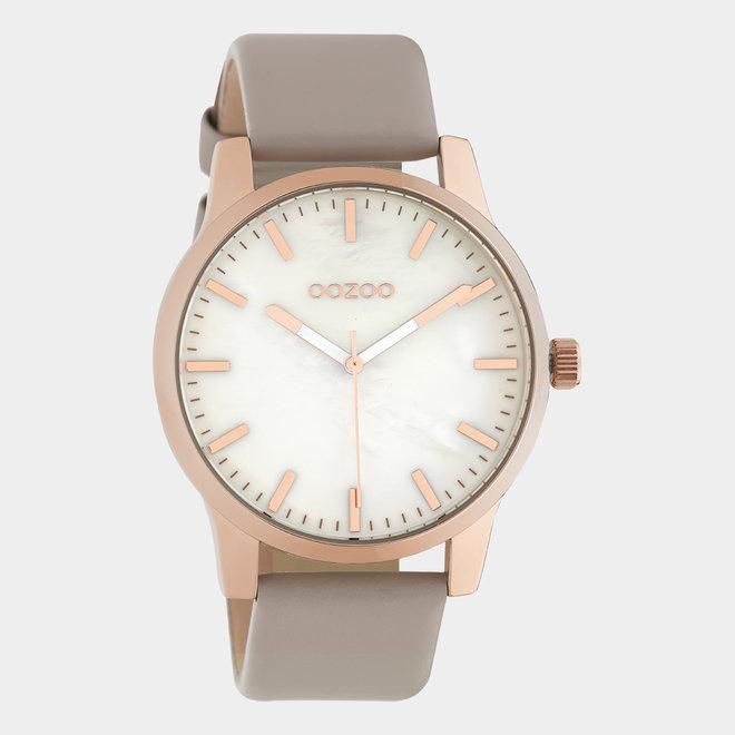 OOZOO Timepieces - unisex - leren taupe met rosé gouden horlogekast