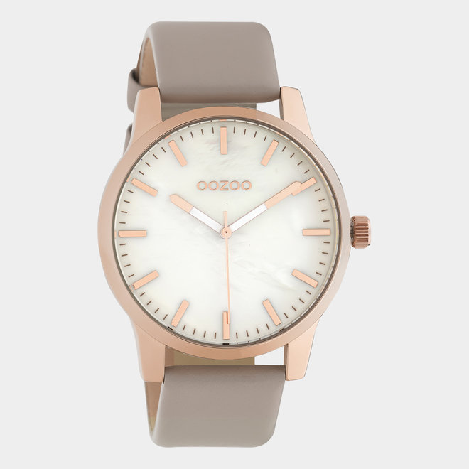 OOZOO Timepieces - unisex - leather taupe / rose gold