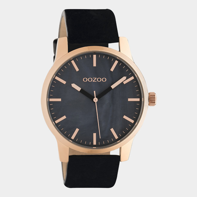OOZOO Timepieces - unisex - leather black / rose gold